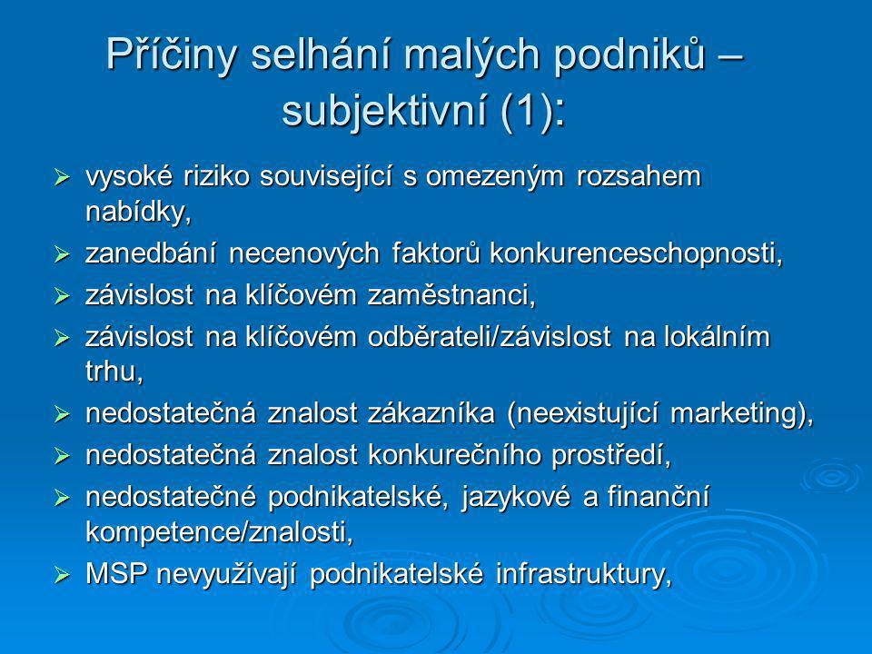 Příčiny selhání malých podniků – subjektivní (1):