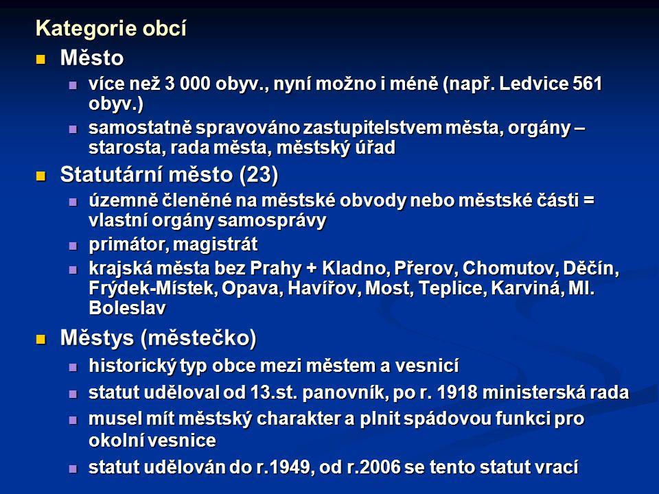 Kategorie obcí Město Statutární město (23) Městys (městečko)