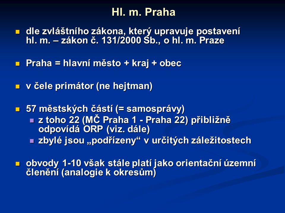 Hl. m. Praha dle zvláštního zákona, který upravuje postavení hl. m. – zákon č. 131/2000 Sb., o hl. m. Praze.