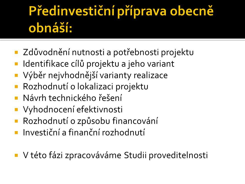 Předinvestiční příprava obecně obnáší: