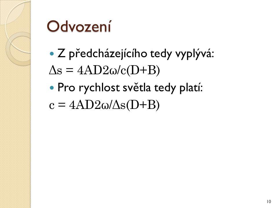 Odvození Z předcházejícího tedy vyplývá: Δs = 4AD2ω/c(D+B)