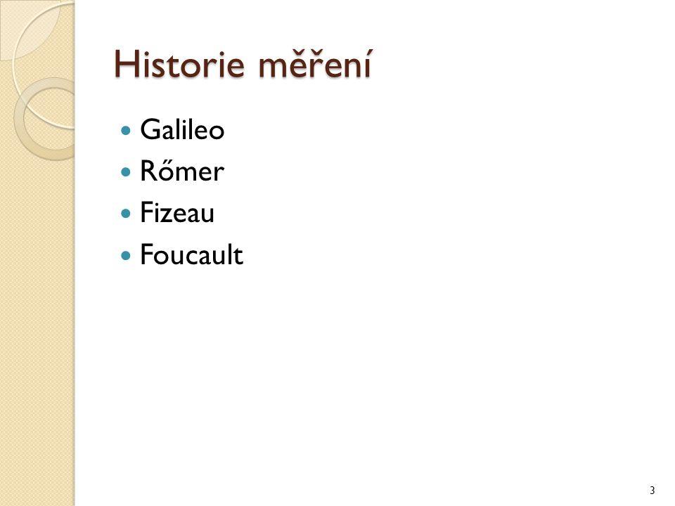 Historie měření Galileo Rőmer Fizeau Foucault