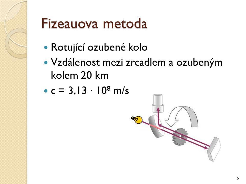 Fizeauova metoda Rotující ozubené kolo