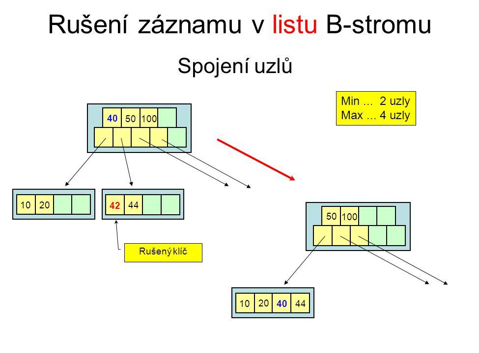 Rušení záznamu v listu B-stromu