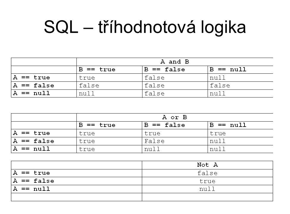 SQL – tříhodnotová logika