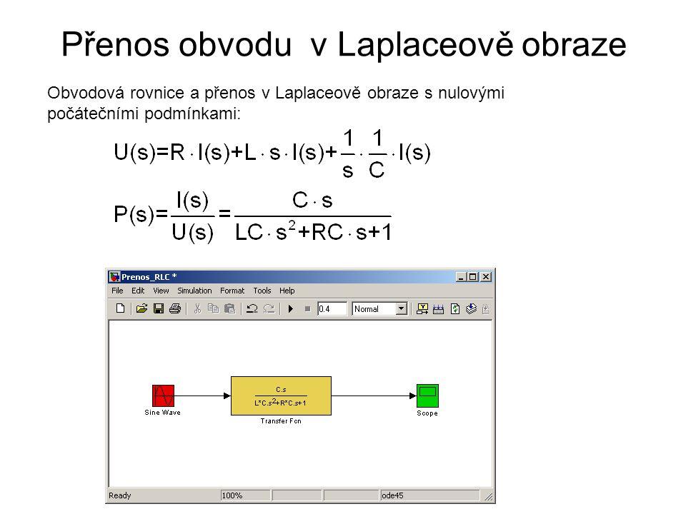 Přenos obvodu v Laplaceově obraze