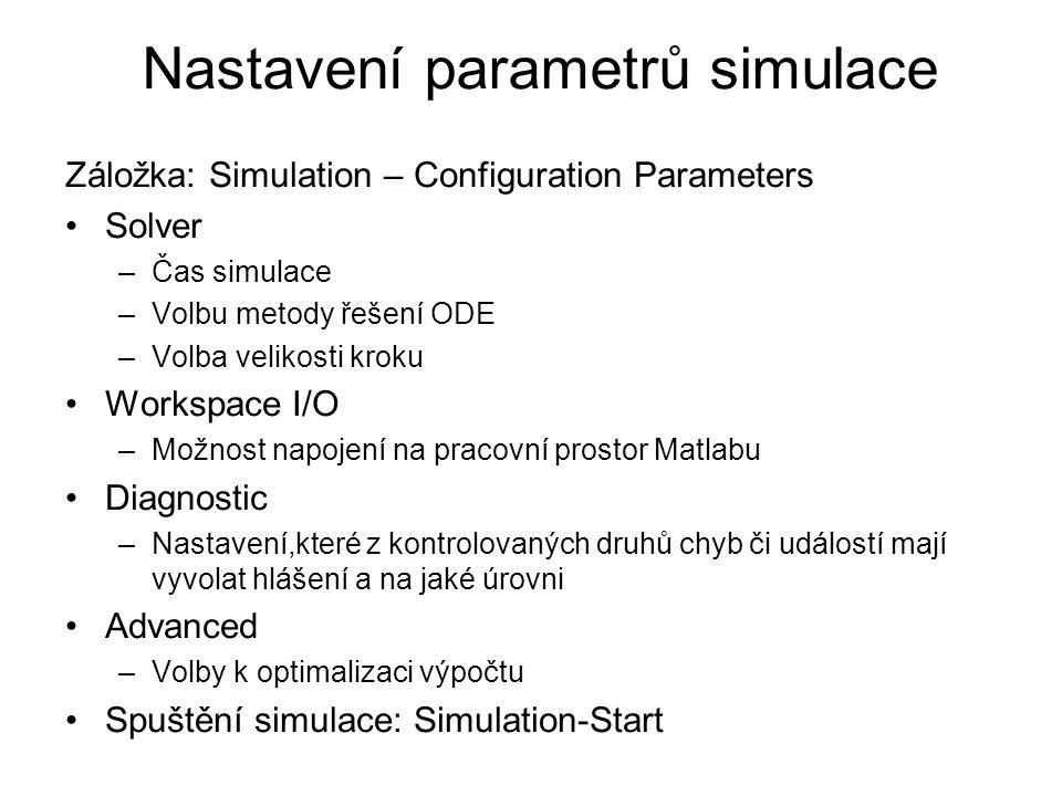 Nastavení parametrů simulace