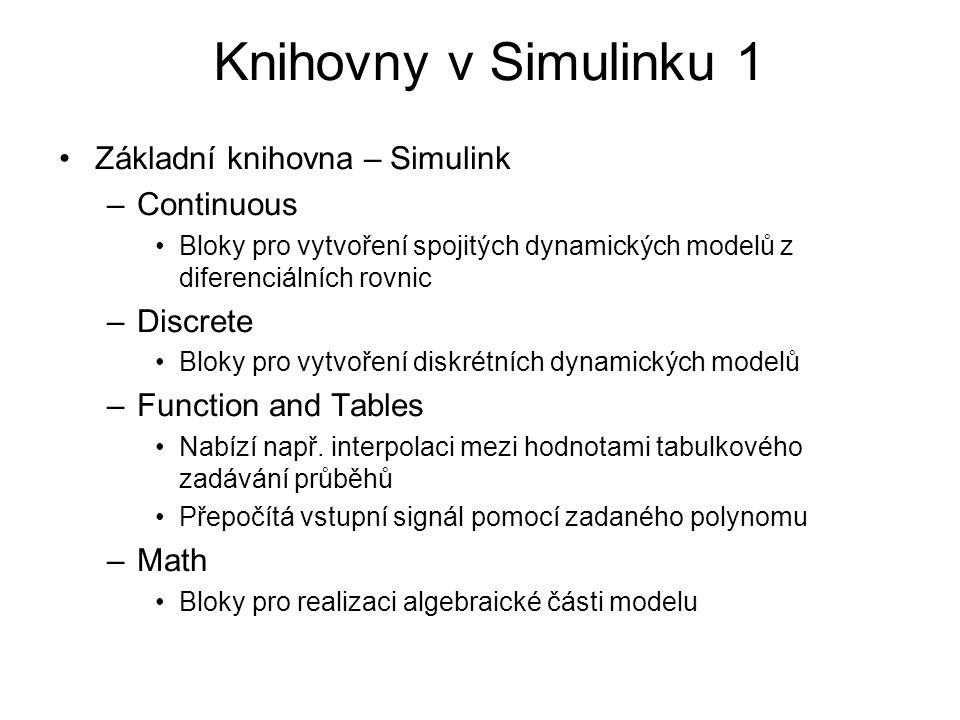 Knihovny v Simulinku 1 Základní knihovna – Simulink Continuous
