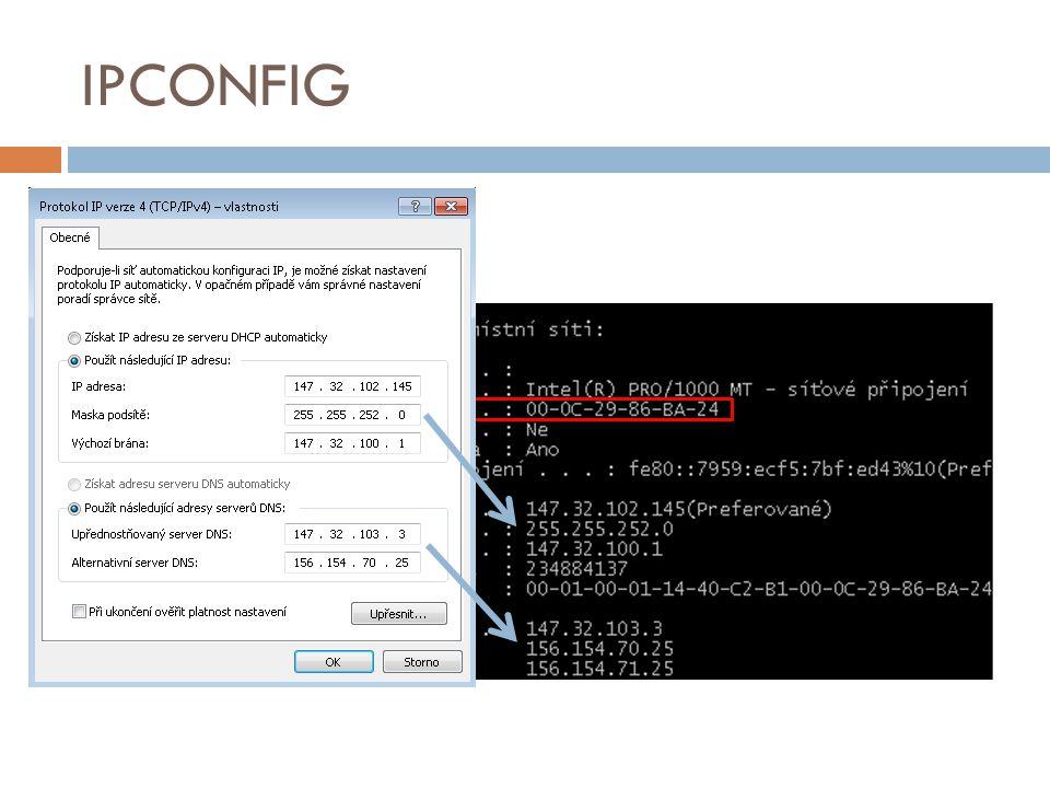 IPCONFIG ipconfig /all