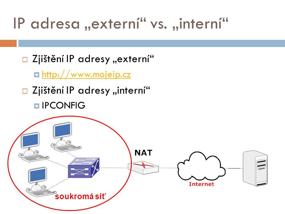 """IP adresa """"externí vs. """"interní"""