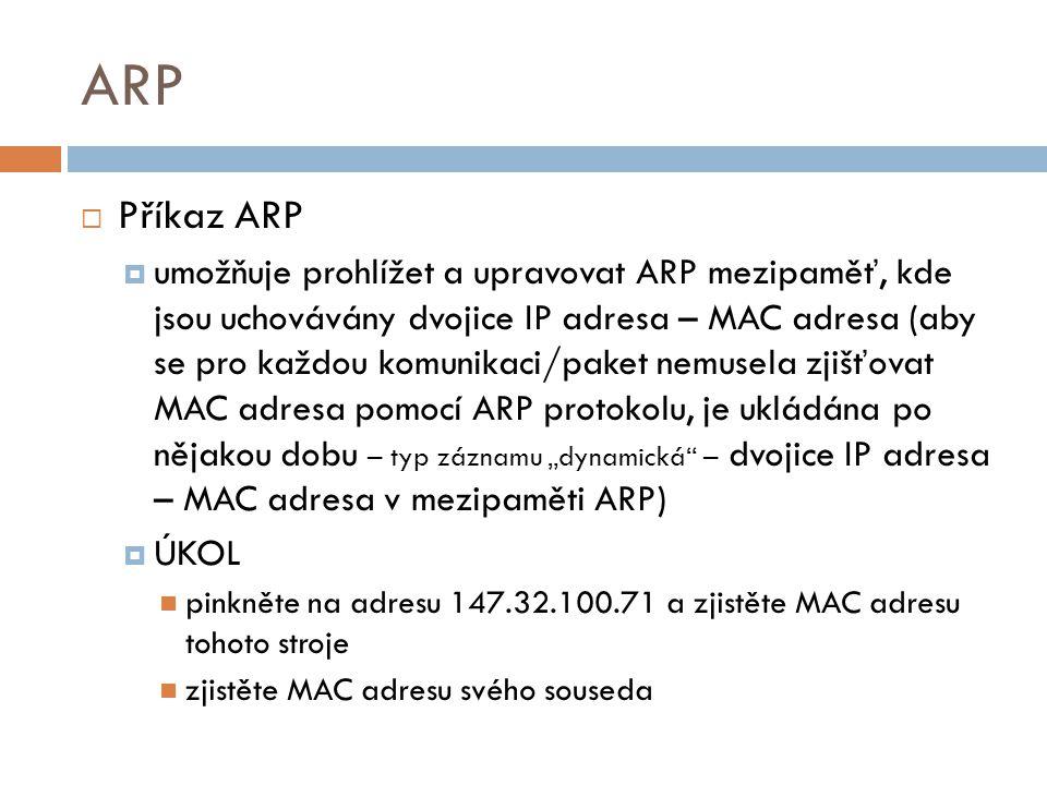 ARP Příkaz ARP.