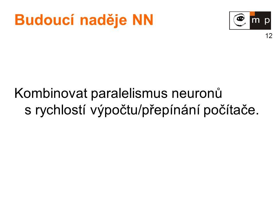 Budoucí naděje NN Kombinovat paralelismus neuronů s rychlostí výpočtu/přepínání počítače.