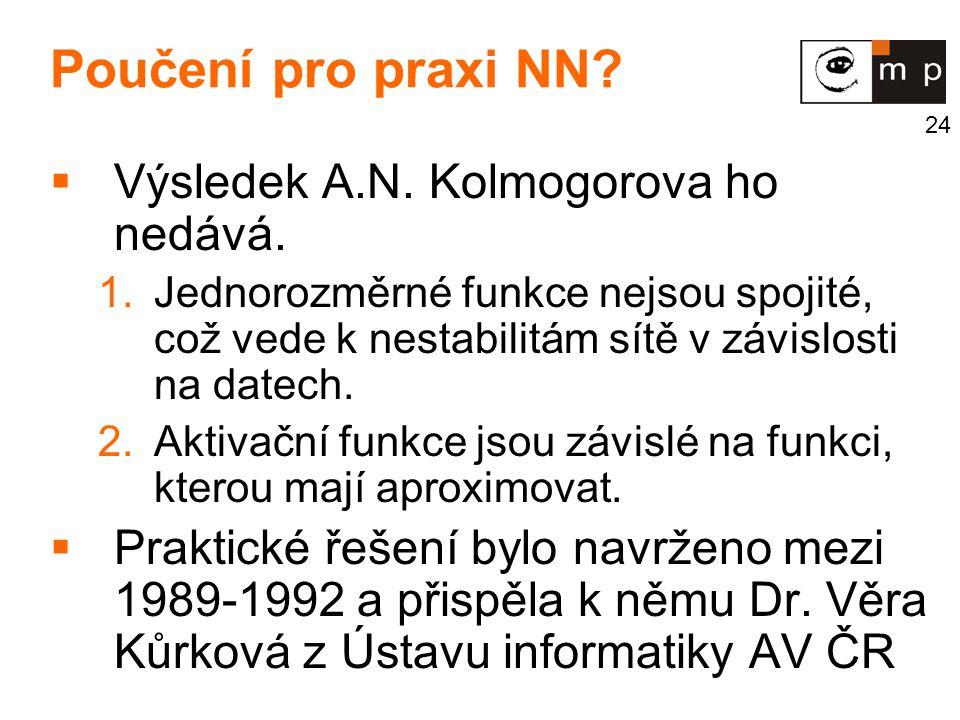 Poučení pro praxi NN Výsledek A.N. Kolmogorova ho nedává.