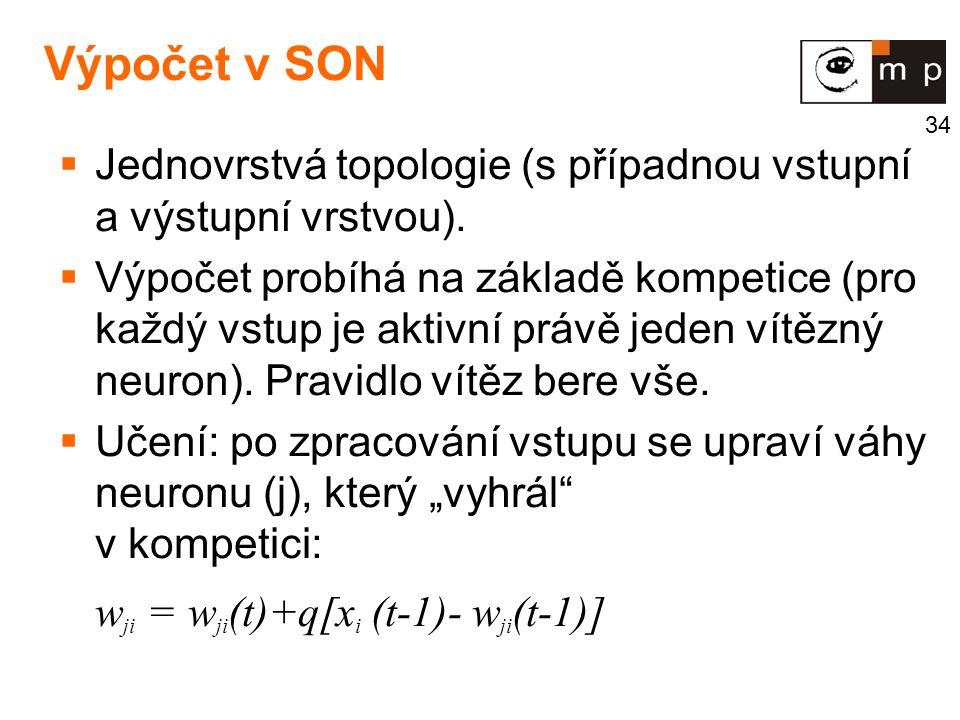 Výpočet v SON Jednovrstvá topologie (s případnou vstupní a výstupní vrstvou).