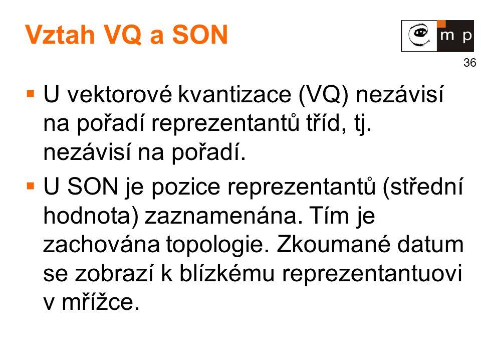 Vztah VQ a SON U vektorové kvantizace (VQ) nezávisí na pořadí reprezentantů tříd, tj. nezávisí na pořadí.