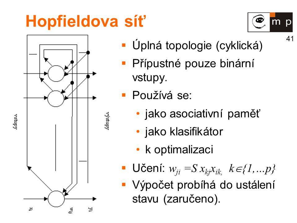 Hopfieldova síť Úplná topologie (cyklická)