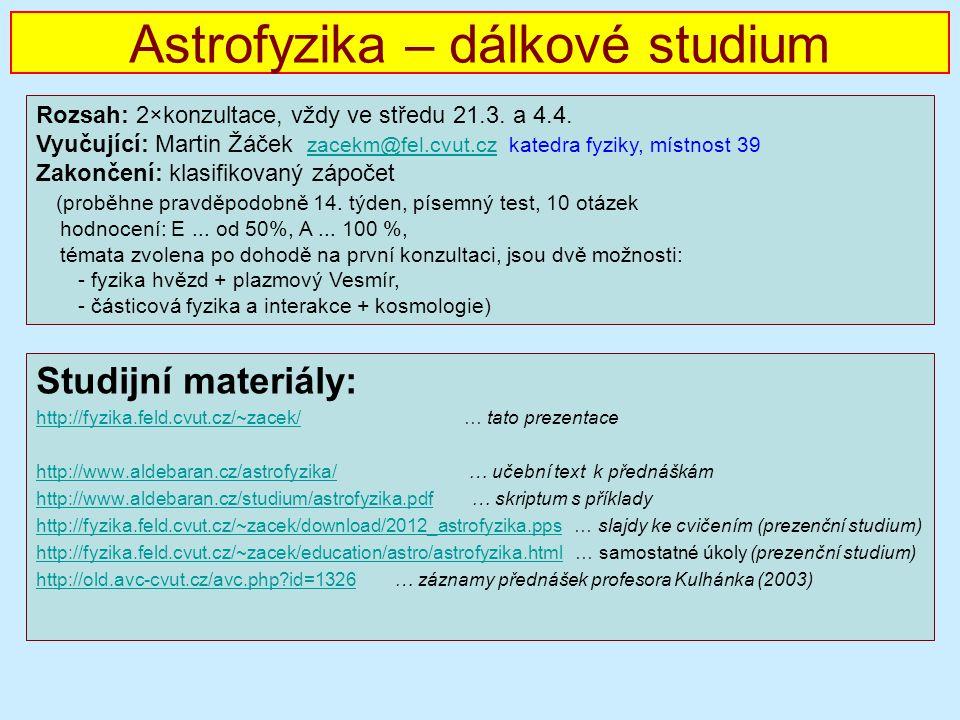 Astrofyzika – dálkové studium