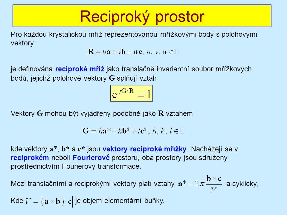 Reciproký prostor Pro každou krystalickou mříž reprezentovanou mřížkovými body s polohovými vektory.