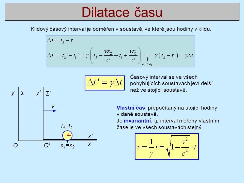 Dilatace času y Σ y' Σ' v t1, t2 x' O O' x1=x2 x