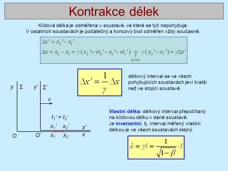 Kontrakce délek y Σ y' Σ' v t1' = t2' x1' x2' x' O O' x1 x2 x