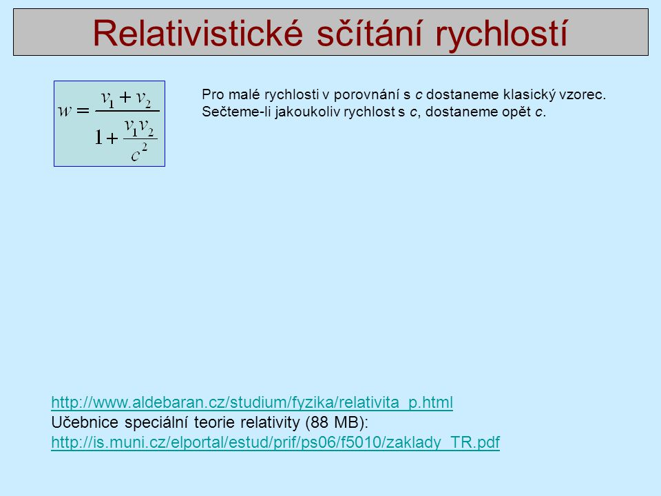 Relativistické sčítání rychlostí