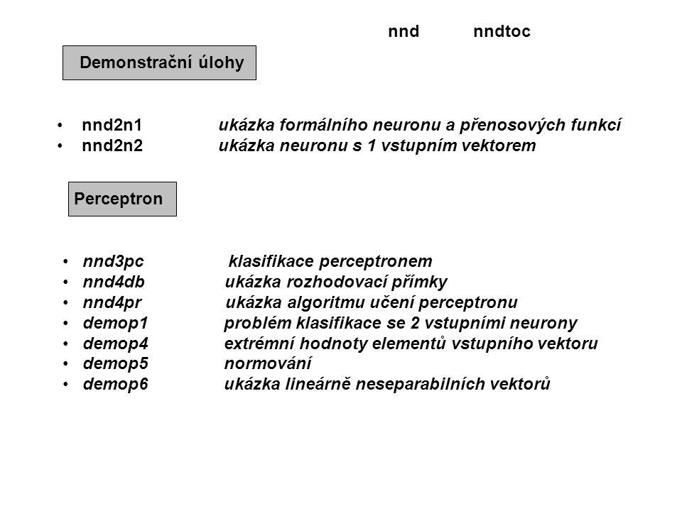 nnd nndtoc. Demonstrační úlohy. nnd2n1 ukázka formálního neuronu a přenosových funkcí.