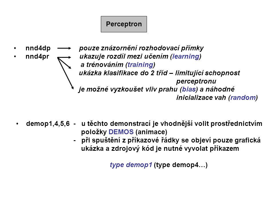 Perceptron nnd4dp pouze znázornění rozhodovací přímky. nnd4pr ukazuje rozdíl mezi učením (learning)