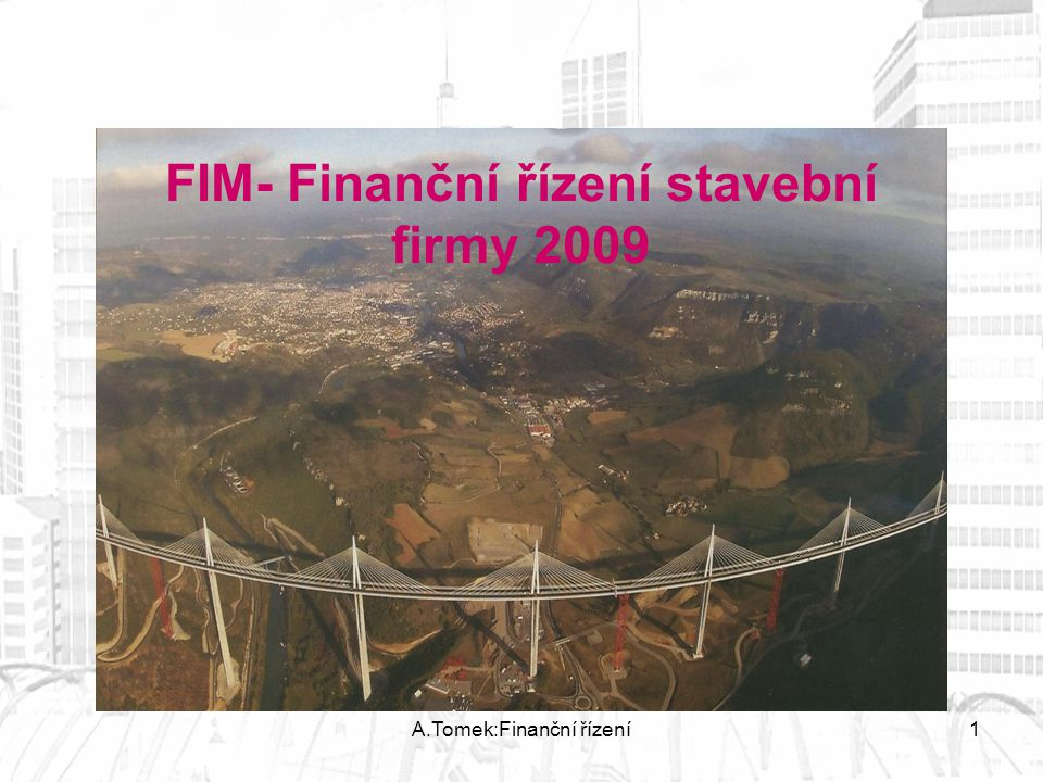 FIM- Finanční řízení stavební firmy 2009