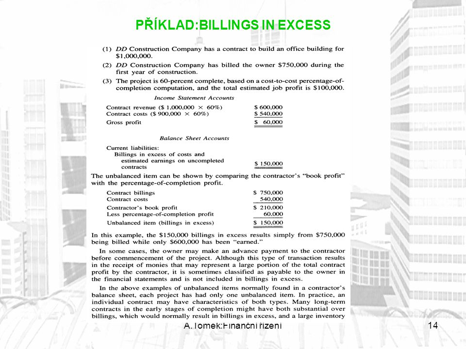 PŘÍKLAD:BILLINGS IN EXCESS