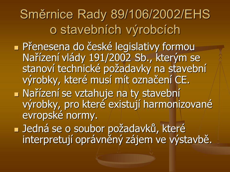 Směrnice Rady 89/106/2002/EHS o stavebních výrobcích