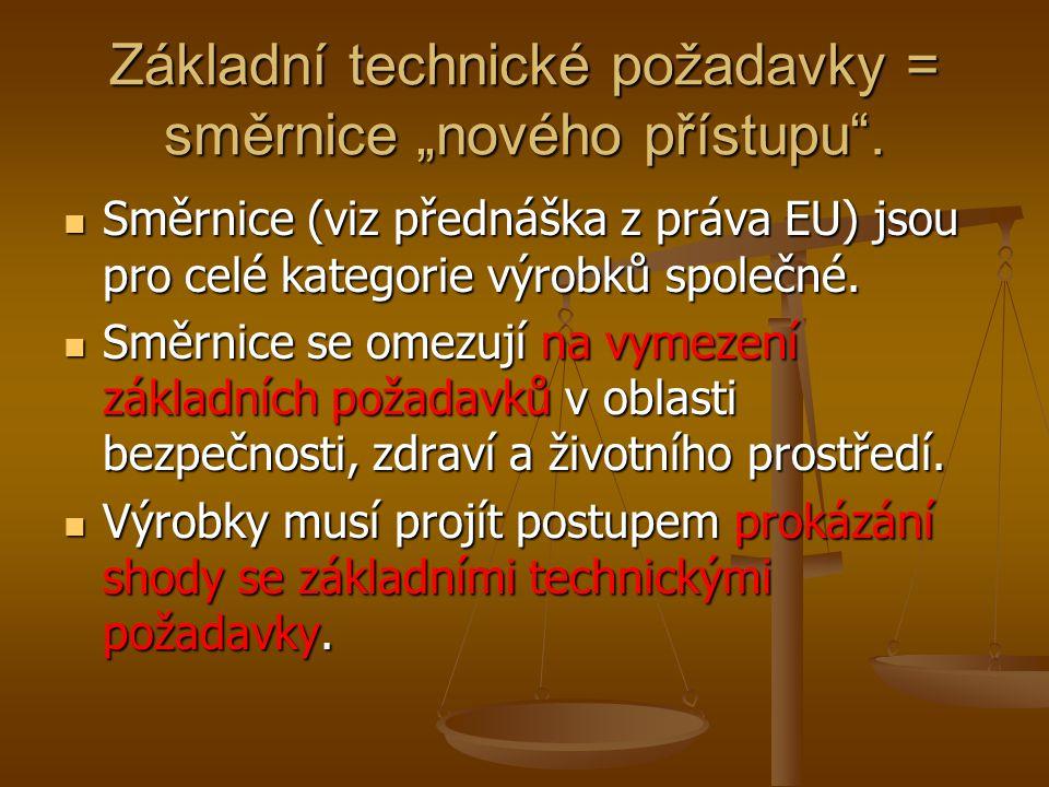"""Základní technické požadavky = směrnice """"nového přístupu ."""