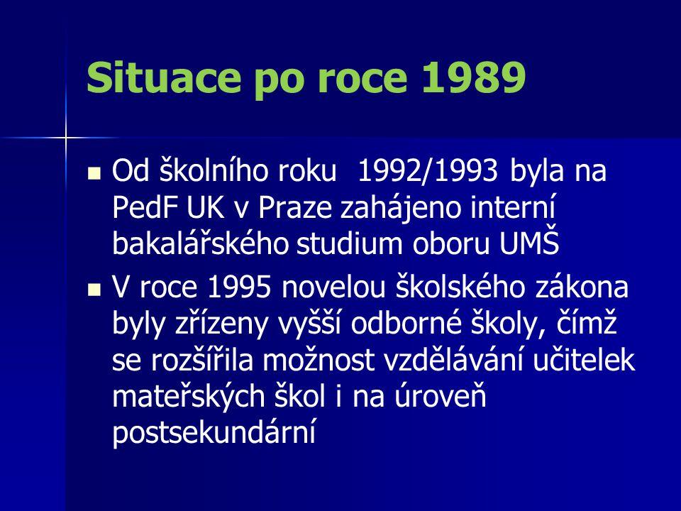 Situace po roce 1989 Od školního roku 1992/1993 byla na PedF UK v Praze zahájeno interní bakalářského studium oboru UMŠ.