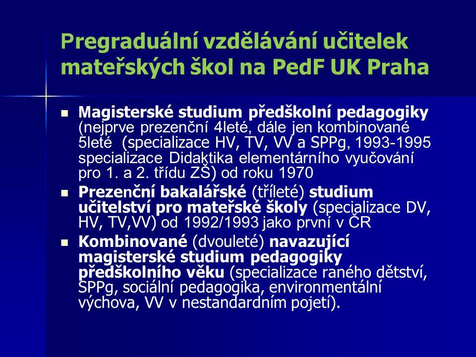 Pregraduální vzdělávání učitelek mateřských škol na PedF UK Praha