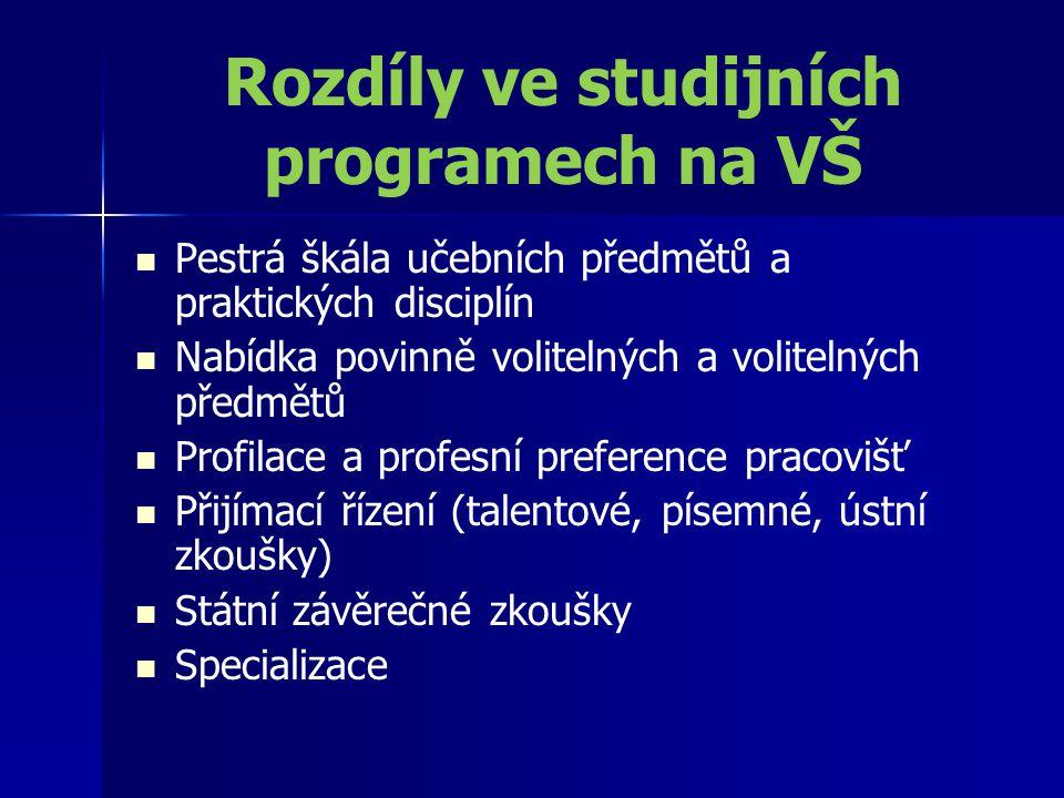 Rozdíly ve studijních programech na VŠ