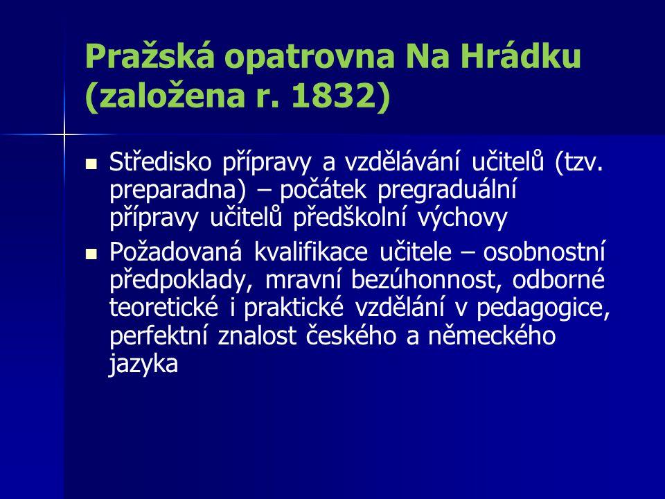 Pražská opatrovna Na Hrádku (založena r. 1832)