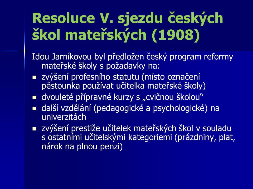Resoluce V. sjezdu českých škol mateřských (1908)