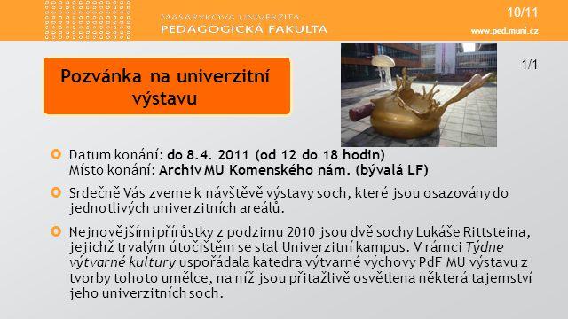 Pozvánka na univerzitní výstavu
