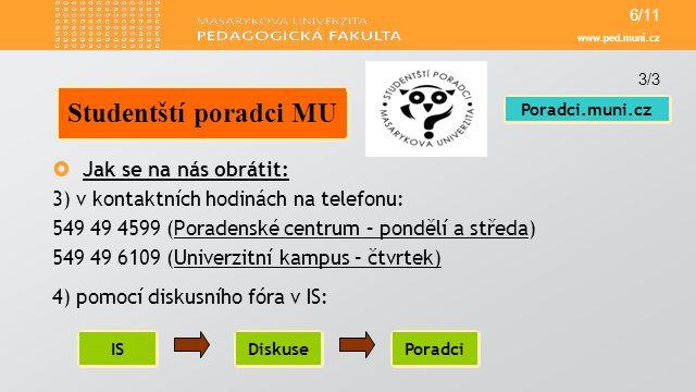Studentští poradci MU Jak se na nás obrátit:
