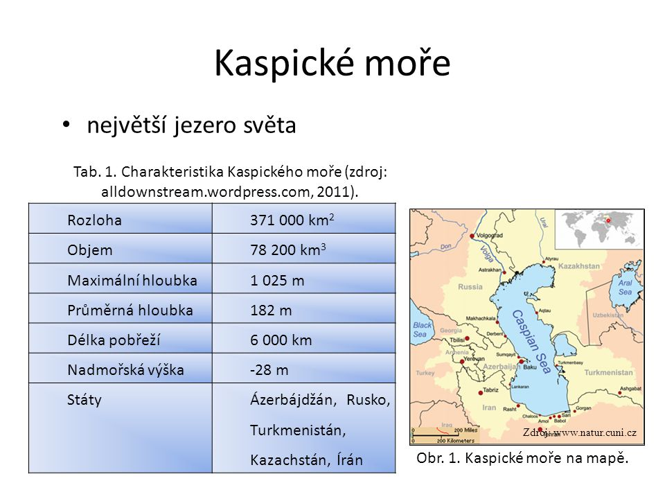 Kaspické moře největší jezero světa