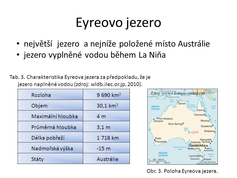 Eyreovo jezero největší jezero a nejníže položené místo Austrálie