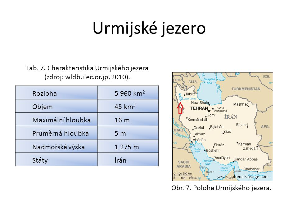 Urmijské jezero Tab. 7. Charakteristika Urmijského jezera (zdroj: wldb.ilec.or.jp, 2010). Rozloha.
