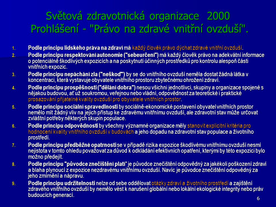 Světová zdravotnická organizace 2000 Prohlášení - Právo na zdravé vnitřní ovzduší .