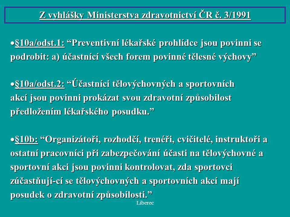 Z vyhlášky Ministerstva zdravotnictví ČR č. 3/1991