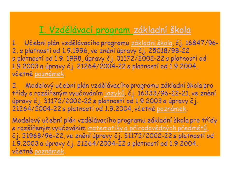 I. Vzdělávací program základní škola