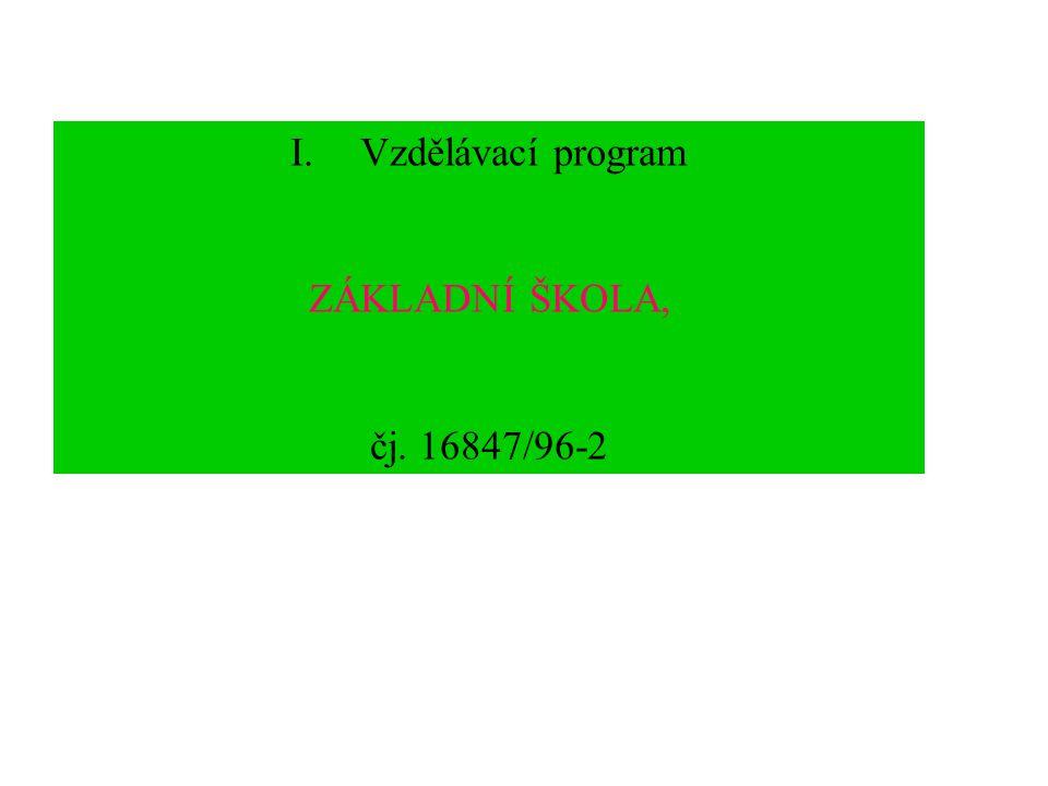 Vzdělávací program ZÁKLADNÍ ŠKOLA, čj. 16847/96-2