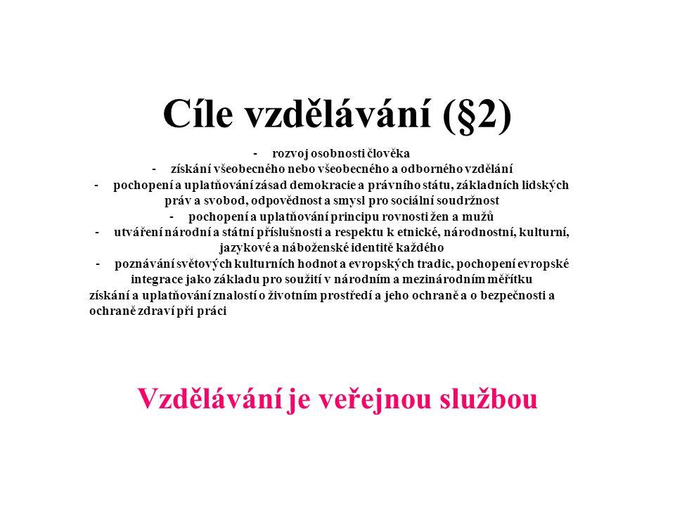 Cíle vzdělávání (§2) Vzdělávání je veřejnou službou
