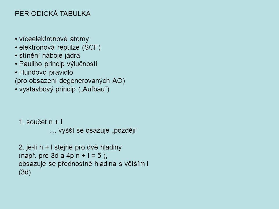PERIODICKÁ TABULKA • víceelektronové atomy. • elektronová repulze (SCF) • stínění náboje jádra. • Pauliho princip výlučnosti.