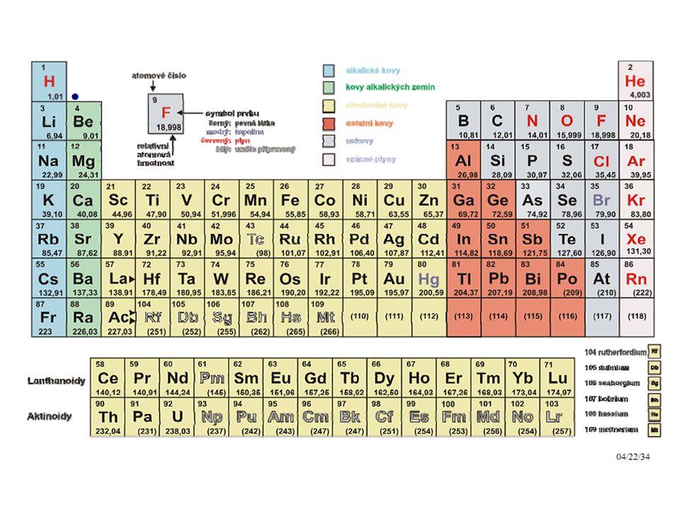 1869 D. I. Mendělejev uspořádal 60 prvků do tabulky podle jejich atomové hmotnosti. V této tabulce se objevila periodicita (opakování) základních vlastností.V současnosti se periodicita vlastností dává do souvislosti s pořadovým číslem (počet protonů atomového jádra, resp. počet elektronů). Prvky jsou uspořádány do period (celkem 7 horizontálních řad) a 8 sloupců (vertikálních řad), kterým se říká skupiny. Na začátku každé periody začíná nová elektronová sféra a číslo periody je shodné s maximálním hlavním kvantovým číslem.