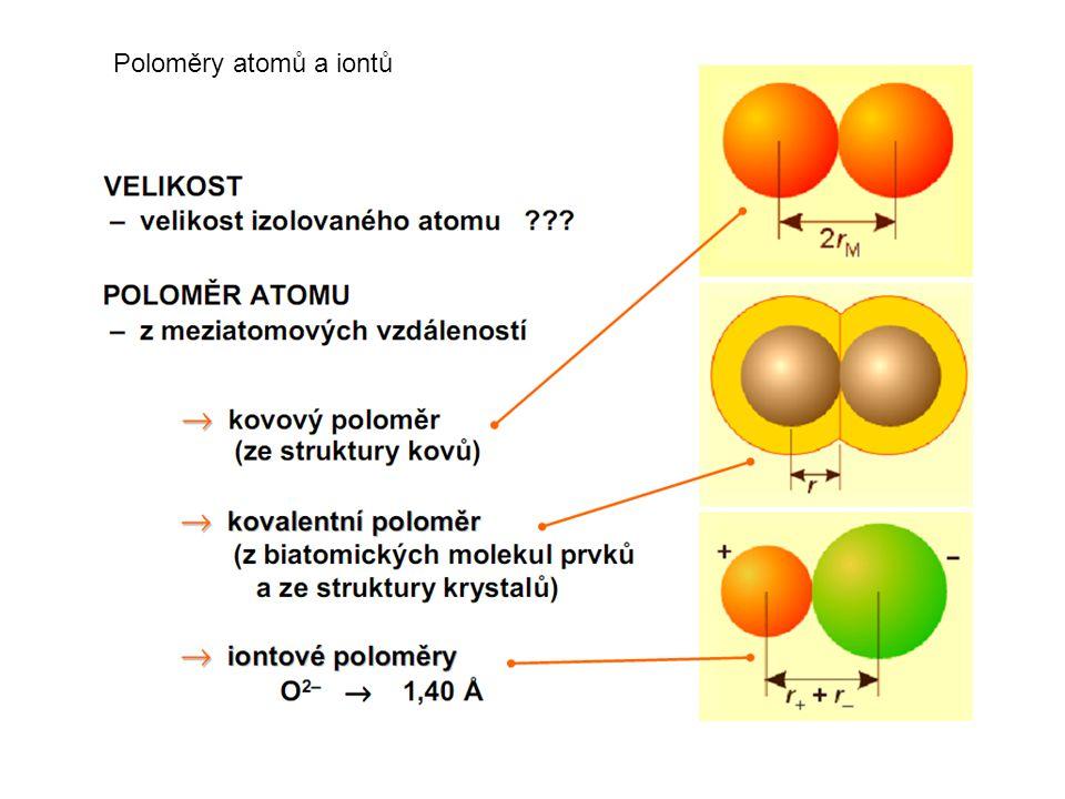 Poloměry atomů a iontů Definovat poloměr atomu je problematické, protože může jít o velikost volného atomu nebo o velikost atomu vázaného v molekule.