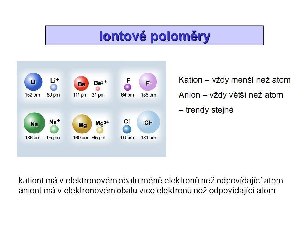 kationt má v elektronovém obalu méně elektronů než odpovídající atom